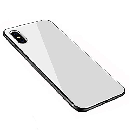 Case Compatible with iPhone Xs Max,Luhuanx Tempered Glass Case Back + TPU Frame Hybrid Shell Slim Case for iPhone Xs Max in 6.5 inch,Anti-Scratch (Drop) 2018 case (White 05)