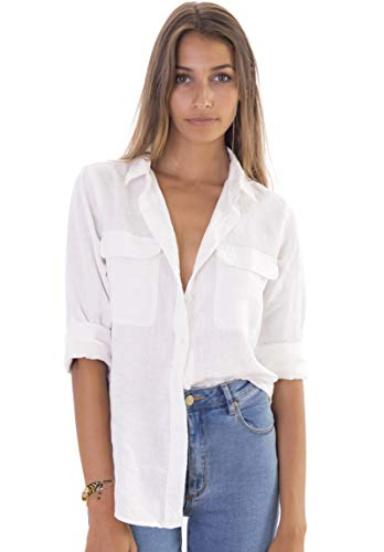 - CAMIXA Womens 100% Linen Button Down Shirt Casual Basic Blouse Pockets Loose Top XXL Snow White