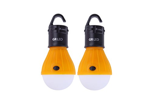 2-Pack GR LED Camping Lanterns By GREYN: A Set of Battery Powered, Water Resistant Light Bulbs with 3 Modes - Ideal for Backpacking, Camping, Emergencies, Fishing, Hiking & Outdoor - Essentials Camping Beach