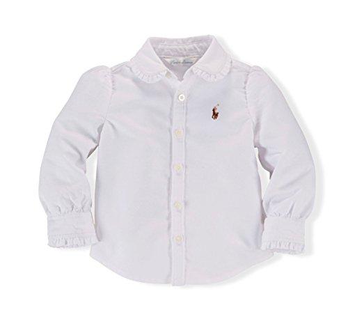 Ralph Lauren Baby Girls' Ruffled Oxford Shirt Size 3M White
