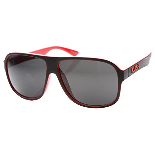 KUSH - Mens Flat Top Plastic Neon Two-Toned Aviator Sunglasses (Black-Red (Neon Aviator Sunglasses)