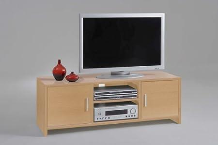 JOL - Mueble para televisor y equipo de música (almacenamiento para CD y DVD, acabado de madera de haya), color marrón: Amazon.es: Hogar