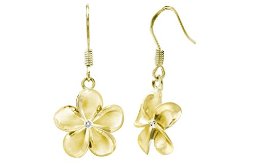 14k Yellow Gold Plated Stering Silver CZ Plumeria Hook Earrings, 14mm