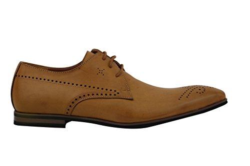 Xposed - Zapatos de cordones de piel sintética para hombre Marrón canela nAkC63L0