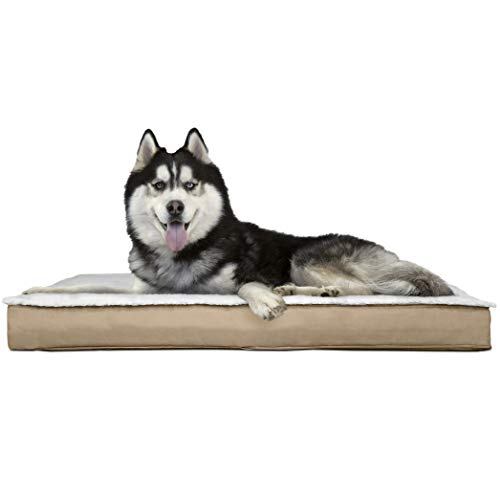 FurHaven Pet Dog Bed | Orthopedic Convertible Sherpa Panel Outdoor Mattress Pet Bed for Dogs & Cats, Sand, Jumbo Convertible Quarter Panel Skin