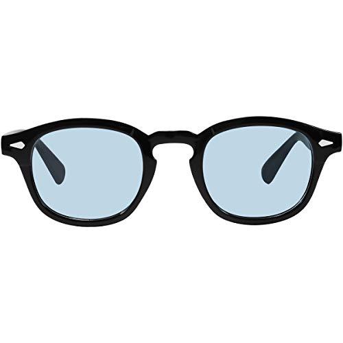 Bestum Inspired Square Sunglasses With Rivets Tinted Lens UV400 (Black, A Blue) (Blue Lens Sunglasses Mens)