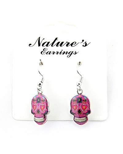 Sugar Skull Earrings For Women Skull Accessories Skull Jewelry Gifts (Pink Skull)