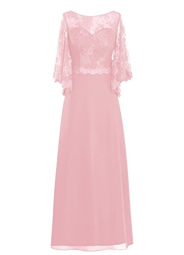 the Mother Bride of Blush Spitzen Women' Lang Sleeve Rot Fanciest Kleides YqIZR