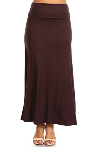 PB COUTURE Womens Plus Size Flowy Long Maxi Skirt Fold Over Waistband Brown-3X