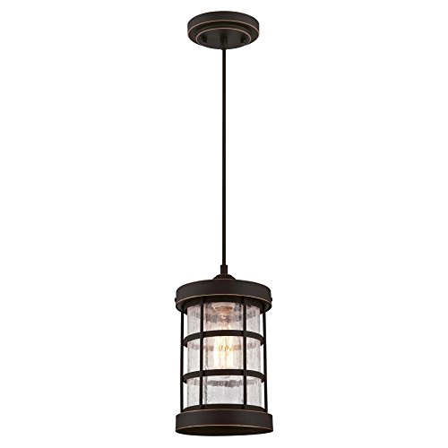 Westinghouse Lighting 6361500 Barkley One-Light Mini, Oil Rubbed Bronze Finish with Highlights and Clear Crackle Glass Indoor Pendant, HI