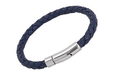 94153ceb2481 Unique Men - A40BLUE 19CM - Bracelet Homme - Cuir Bleu - Acier Inoxydable -