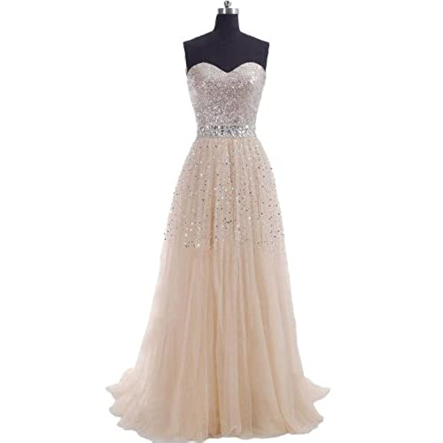 Hi Girls Exquisite Sweetheart Tulle Long Prom Dresses 2014 Party Gowns (US6, Champagne)
