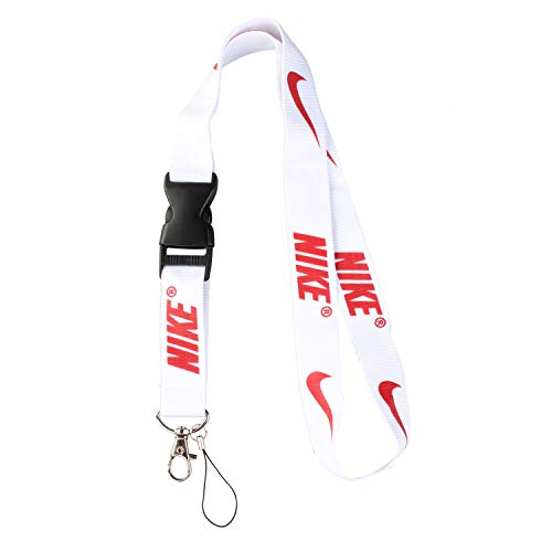 Lanyard Keychain Holder Keychain Key Chain Black Lanyard Clip with Webbing Strap (Nike White) (Nike Accessories)