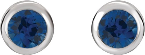 Blue Sapphire Stud Earrings, Rhodium-Plated 14k White Gold by The Men's Jewelry Store (for HER)