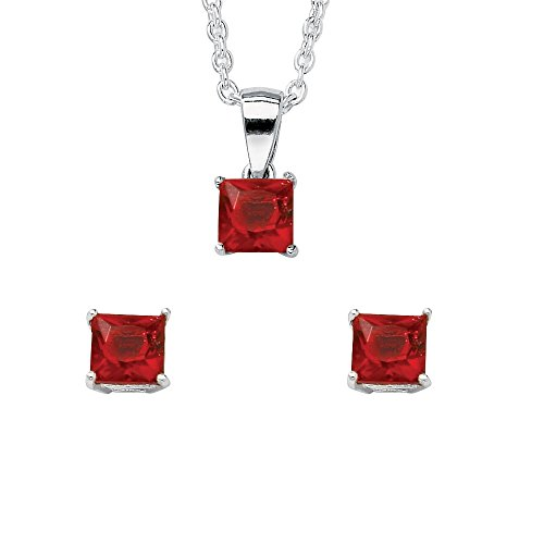 (Lux Sterling Silver Princess Cut Simulated Birthstone Jewelry Set 18
