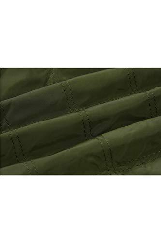 Maniche Lunghe Slim Casuale Controllare Per A Le Outwear Green Giacche Pieno Zip Vosujotis fnA80qHwX