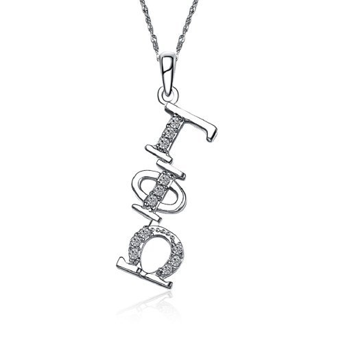 Gamma Phi Omega Diagonal Silver Necklace with a 18 Silver Chain (GPO-P002) by Greek Star