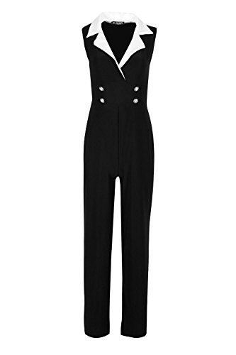 Womens Ladies Contrast Tuxedo Collar Sleeveless Wrap Over Buttons Jumpsuit (Tuxedo Ladies)