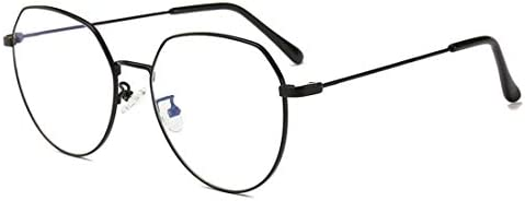 H54eru1z 不規則なファッションユニセックスメタルフレームの眼鏡非処方箋メガネレディースメンズ 6awa23z (Color : Black)