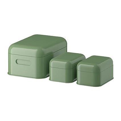 IKEA SNIKA Lote de 3 cajas de almacenaje con tapa verde