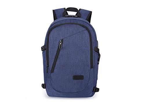 Elegante con Blue Bag Durable Daypacks Viaje para Computer Student Anti 7 Mochila Hombre Tsutou Carga Pulgadas portátil USB Mochila 19 Laptops Negocio Theft Mujeres Puerto de de Slim College q0faO