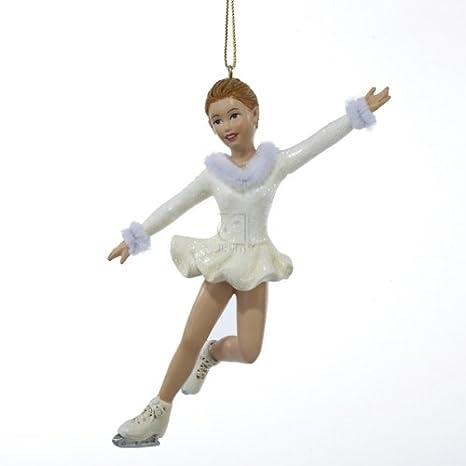 Christmas Ice Skating Dress.Amazon Com Kurt Adler Girl Ice Figure Skater In White Dress