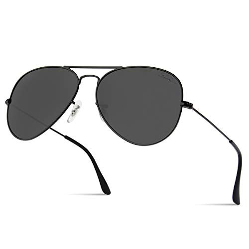LIVHO Classic Aviator Sunglasses for Women Men Polarized,Metal Frame Mirror UV Lens Protection(Black Grey, 58) (Aviator Classic)