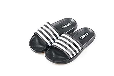 Ku-lee Kids Lightweight Slide Sandals- Wearproof Slides Sandals Shoes for Indoor or Outdoor-Flexible House Slipper Sport Slides for Boys Girls Black Size: 1 Little Kid