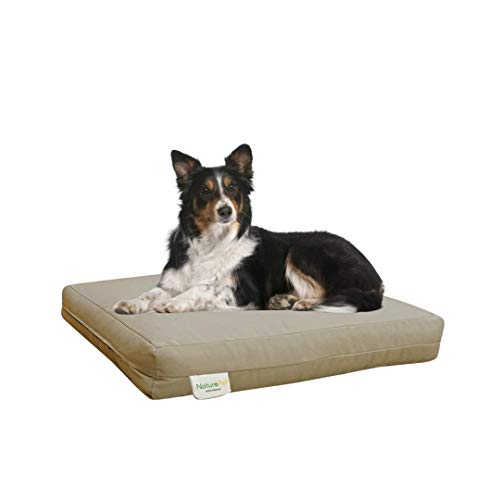 NaturoPet Natural Orthopedic Dog Bed, Premium Virgin Wool Coco-Latex Pet Mattress Removable Washable Cover Water Resistant Indoor-Outdoor Durable Chew Resistant Made in USA