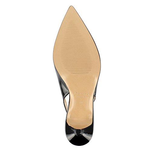Evita Noir Verni Cuir Giulia Escarpins Shoes Sling rwrAB1
