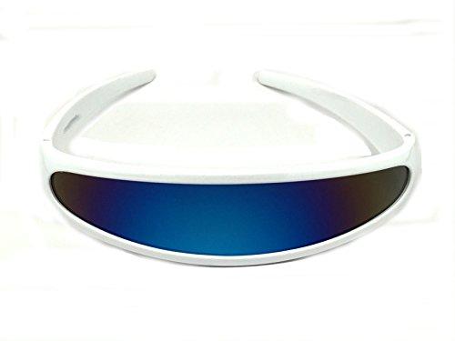 Futuristic Cyclops Shield Cosplay Mirrored Lens Visor Sunglasses (Visor White Frame/Blue - White Glasses Alien