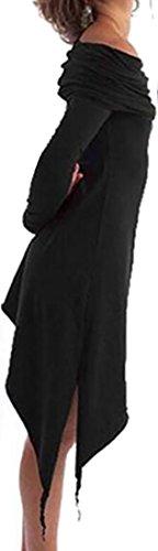 Black Cruiize Irregular Hoodie Solid Dress Casual Sleeve Women's Slim Long 4wUS4zTq