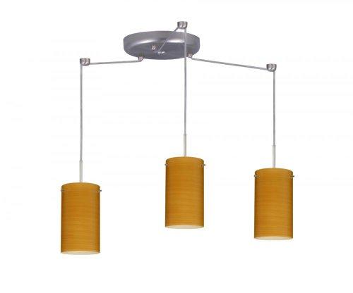 Besa Lighting 3BC-4404BK-SN Stilo 7 3-Light Round Multi-Light Pendant, Satin Nickel Finish and Black Matte Art Glass -