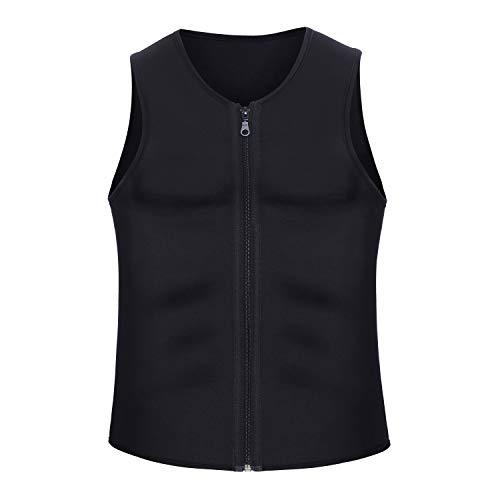 Black Men Waist Trainer Vest for Weightloss Hot Neoprene Corset Body Shaper Zipper Sauna Tank Top Workout Shirt