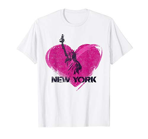 Vintage New York Liberty Heart T-Shirt NY Souvenir Tee Gift