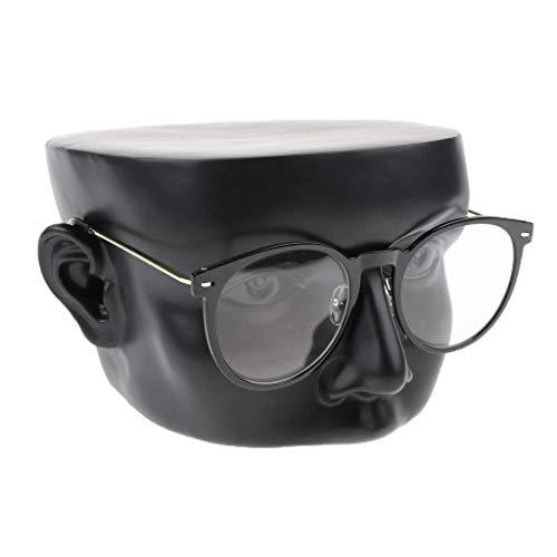 SM SunniMix Women Men Eyeglasses Sunglasses Mannequin Head Display Stand Holder Sculpted Nose Ears Rack for Home Decor Glasses Stores - Black