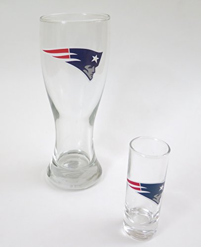 New England Patriots, Pilsner glass and shot glass set, for a shot and a beer. (Set Shot Fan Glass)