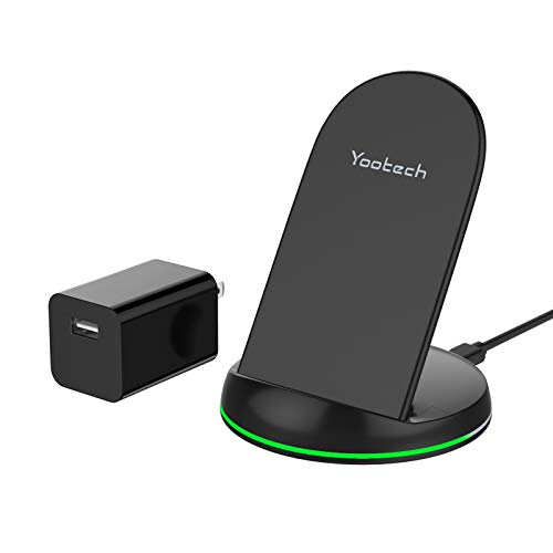Yootech Wireless Charger, Qi-Certified 10W Max Wireless Charging Stand with Quick Adapter, Compatible with iPhone 12/12 Pro/12 Mini/12 Pro Max/SE 2020/11 Pro Max, Galaxy S21/S20/Note 10 Plus/S10/S9