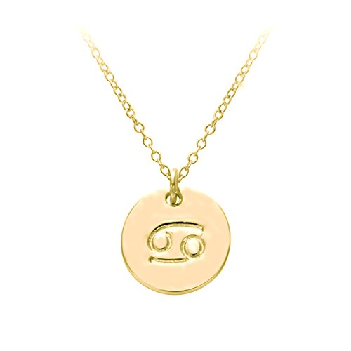 HACOOL 18k Gold Plated 12 Zodiac Sign Tag Constellation Horoscope Astrology Disc Charm Necklace Pendant (Cancer Charm Gold Plated)