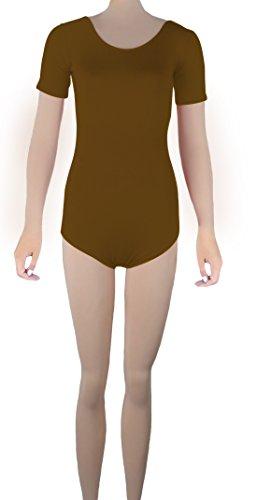 Howriis Lycra manica corta Backless Body Dancewear tanga Brown