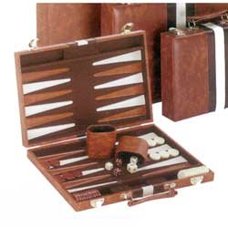 Backgammon - 15 Inch Brown and White Attache Set