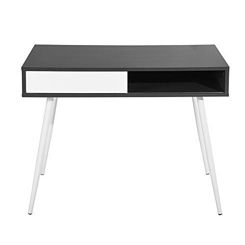 FurnitureR Computer Desk Workstation Writing Table Compartment Sliding Door Storage Dark Grey White (Top Frame Picture Door Large)