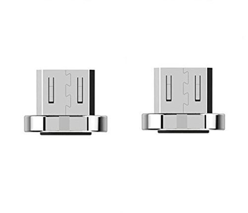 WAMTRONICS 2 pack Wsken Micro USB Cable Magnetic Plug Fast Charger Adapter Connector for Android (Silver)