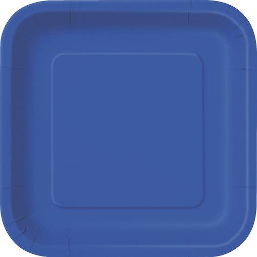 Square Royal Blue Paper Plates, 14ct -
