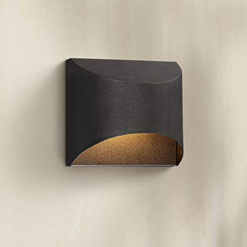(Ratner Modern Outdoor Wall Light Fixture LED Textured Black Dark Sky 5 1/2