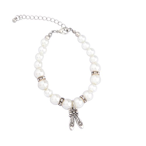 ENSIANTH Dancer Lover Gift Pearl Bracelet Girl Dance Jewelry With Dancing Shose Dance Recital Gift (Dancing Shoes Bracelet) ()