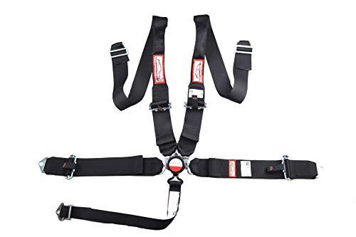 Racerdirect.net Black Floor Mount Race Harness 5 Point Pull UP Lap Belts HANS Device Belt
