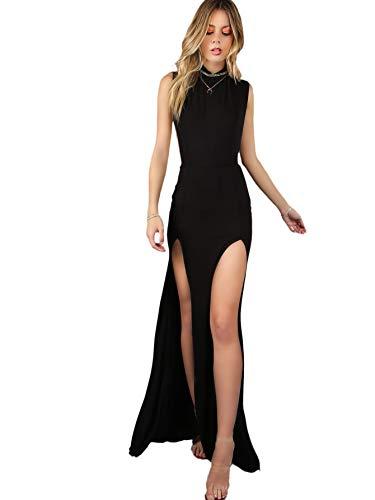 Verdusa Women's Sleeveless Contrast Mesh Back Double Slit Maxi Dress Black XS
