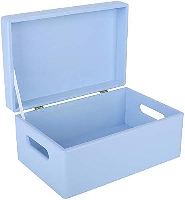 Creative Deco Azul Grande Caja de Madera para Juguetes | 30 x 20 x ...