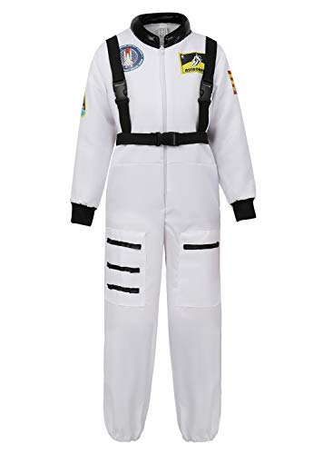 Children's Astronaut Costume Jumpsuit Dress up Role Play Costume for Kids Boys Girls Pretend Play Spaceman Suit Set White-L